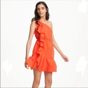 EUC Club Monaco Orange Silk Mari Ruffle Dress